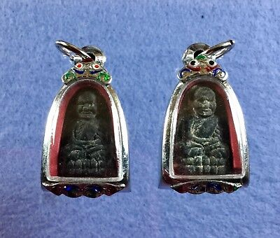 Two pcs  Special Thai Amulets Old LP Tuad Wat Huaimongkol B.E.2559 holy powder