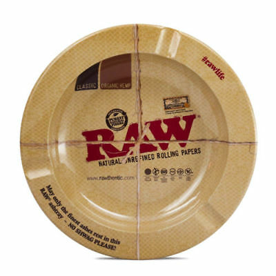 """RAWTHENTIC"" 5 1/2"" Round Metal Ashtray by RAW Natural Unrefined Rolling Papers"