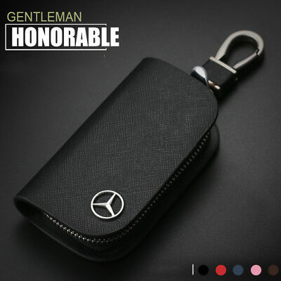 Cross Pattern Leather Car Remote Key Chain Holder Case Bag Fit For Mercedes-Benz