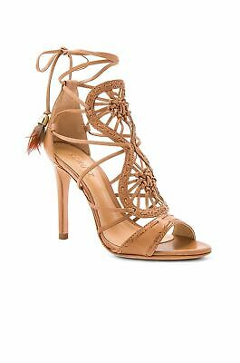 a8ccb7fbe368 Schutz Lilianna Desert Brown Leather Cut Out Feather Tie Up Single Sole  Sandals