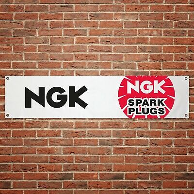 NGK Spark Plugs Banner Garage Workshop PVC Sign Trackside Display