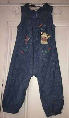 Disney Store Girls Chambray Romper Winnie The Pooh Piglet Embroidered Sz 12-18m