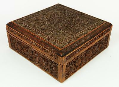 SUPERB INDIAN ANTIQUE CARVED WOODEN BOX c1890