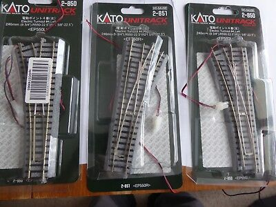 Kato HO Unitrack 2 electric turnout 2-850 left, 1 2-851 right, 3 24-840 switch