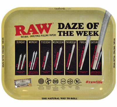 AUTHENTIC RAW DAZE OF THE WEEK Cigarette Tobacco Metal LARGE Rolling Tray 14x11