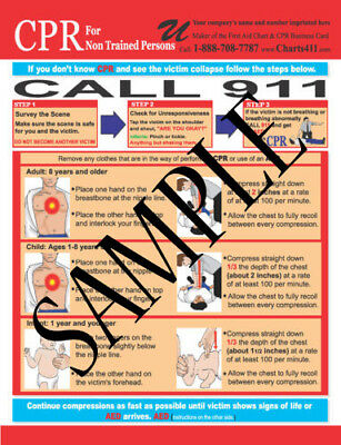 100 CPR Hands Only/AED Reference Chart w/Personalized Imprinting 2015 guidelines