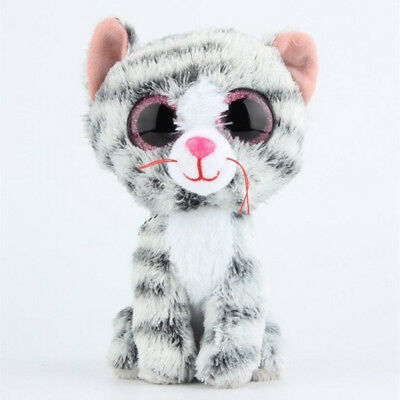 Cute grey catl TY Beanie Boos Plush Stuffed Toys Glitter Eyes (6 inch)