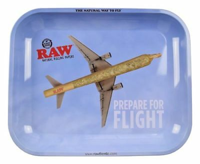RAW PREPARE FOR FLIGHT Cigarette Tobacco Metal LARGE Rolling Tray 14x11