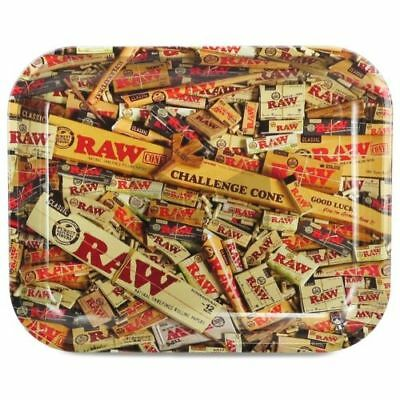 AUTHENTIC RAW COLLAGE MIXED Cigarette Tobacco Metal LARGE Rolling Tray 14x11