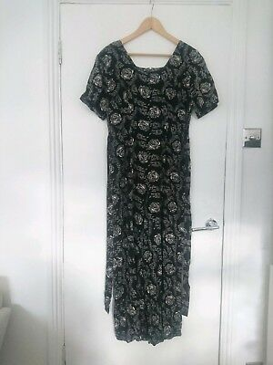 Vintage 90s black and white floral jumpsuit size 12