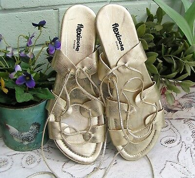 EVANS FLEXISOLE Ladies Roman Greek Gold Sandals Egyptian Goddess Toga Shoes UK 7