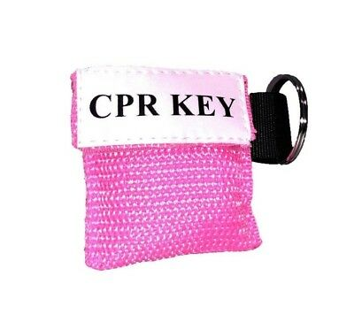 """1 Pink Facial Shield CPR Mask in Pocket Keychain - """"CPR Key"""""""