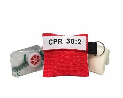 1 Extra Large Red CPR Keychain Mask - Face Shield with heavy duty GLOVES
