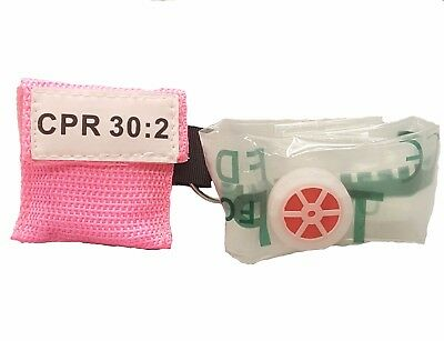 1 Pink CPR Keychain Mask - Face Pocket Shield with GLOVES
