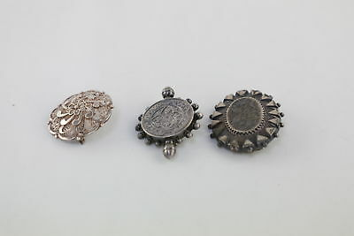3 Vintage .925 STERLING SILVER BROOCHES inc. Victorian 18g