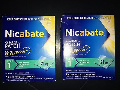2x Nicabate Clear Patch 21mg Step 1 7 Patches Per Box