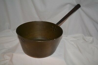 """18th century  Large heavy 9 """" Brass Saucepan with a hollow iron handle"""