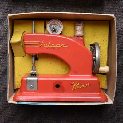 VINTAGE 1950's VULCAN MINOR CHILD'S RED SEWING MACHINE BOXED FULLY WORKING