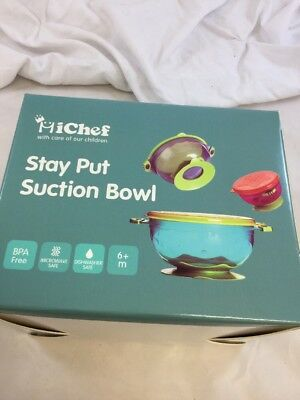 NWT MiChef Stay Put Suction Bowl,Spill Proof,Baby Bowls with Snap Tight Lids(KF)