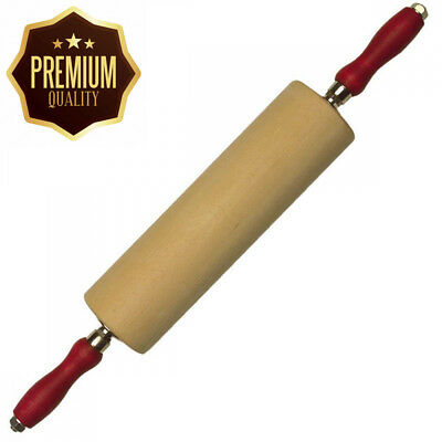 Staedter Rolling Pin with Ball Bearing and Iron Axle, Beige, 8.5 x 45 cm