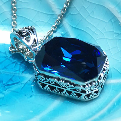 "Vintage Blue Sapphire Pendant Necklace 18"" Chain 14k White Gold Gift WBP34"