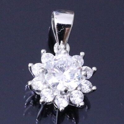 2 Ct Solitaire Round Diamond Pendant Charm Solid 14K White Gold Jewelry