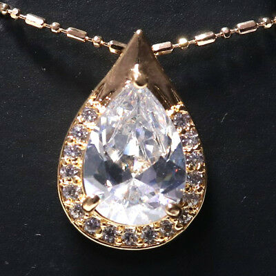 6.24 Ct Pear Diamond Halo Pendant Necklace 14K Yellow Gold Plated Charm YW236