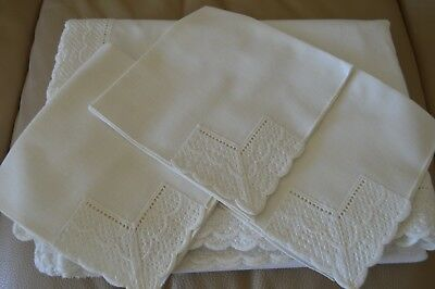 "Estate Sale Find Lovely Ivory  63"" X 138"" Tablecloth w Crochet Trim & 3 Napkins"