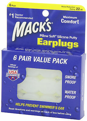 Mack's Pillow Soft Silicone Earplugs Value Pack, 6 Pairs New -