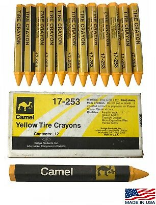 Camel 17-253 Yellow Tire Glass Automotive Marking Wax Crayons 1/2 Hex 12 Per Box