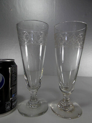 2 Anciens Grands Verres A Absinthe Guilloches -Grande Taille 19 Cms
