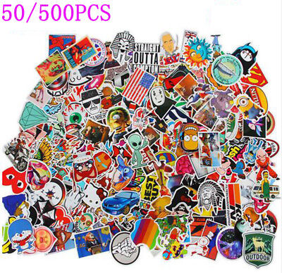50/500Pc Cool Sticker, Decal Vinyl Skateboard Guitar Travelc Case, Stickers Pack