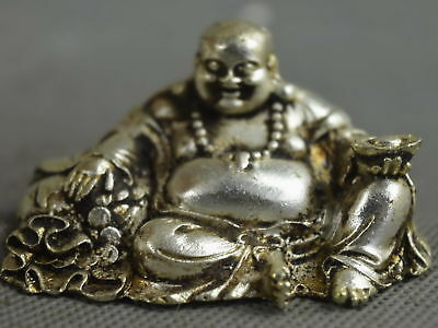 China Collectable Decorate Miao Silver Carve Smile Buddha Buddha Statue Noble