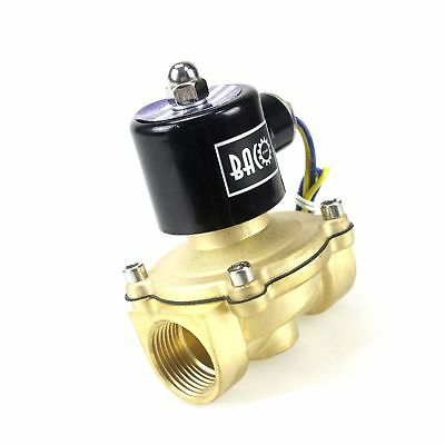 BACOENG 1 DC12V Electric Solenoid Valve (NPT, Brass, Normally Closed)