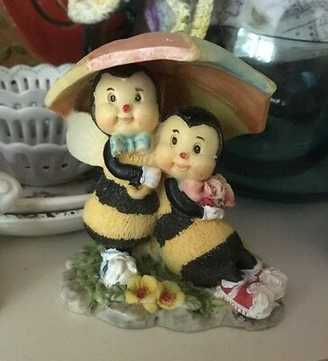 Bumble Babies Bumble Bee Honeybee Figurine Umbrella Pastel Vintage MISSING WING