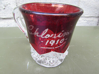 "Charinda Iowa 1910 Ruby Flash Vintage Souvenir Pitcher Glass 2 1/2"" High"