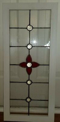 Old English Stained Glass Window - Red