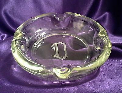 """Thick Heavy Glass 6"""" Rounded Cigar Ashtray/monogram """"d""""/1 ½"""" Tall"""