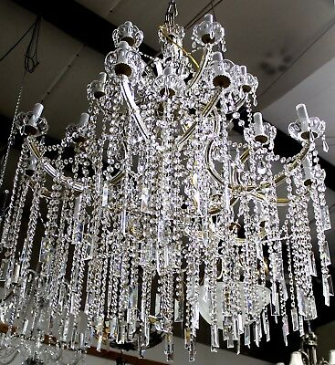Vintage Crystal & Cut Glass Maria Theresa Style Chandelier