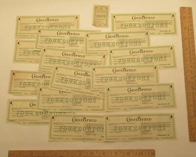 15 FOUR COUPONS - CHESTERFIELD / LMC coupons from 1970s and 1980s - plus ONE