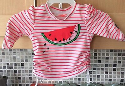 Baby Pink & White Stripe Melon Swim/Cover Up Top Age 3/6 months From I Play New