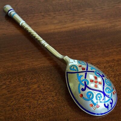 An Imperial Russian Silver-Gilt And Enamel Spoon. Ivan Khlebnikov, c.1870-80.