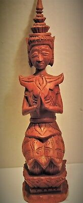 Vintage Hand Carved Wooden Thai Thepanom Guardian Figurine Statue....