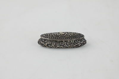 Antique 1900 Hallmarked CHESTER Solid Silver Ornate Ladies Pill Box -32g