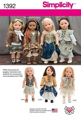 New Simplicity Doll Clothes Pattern 1392 For 18 American Girl