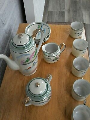 Vintage Japanese Tea Set. Lustre Ware Eggshell. Pretty. 13 Pieces + Lids