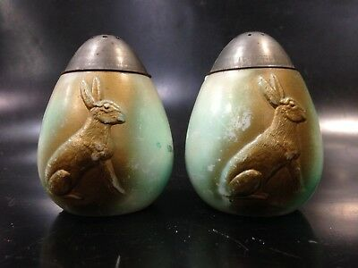easter rabbit egg salt pepper shaker Painted Milk Glass EAPG Antique