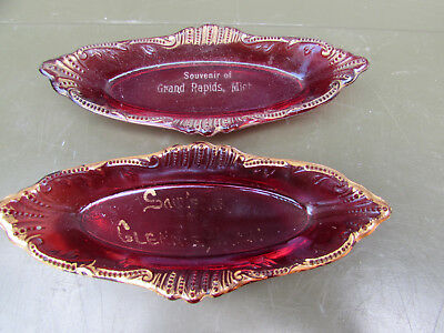 Glennie & Grand Rapids Michigan Ruby Flash Vintage Souvenir Glass Boat Trays
