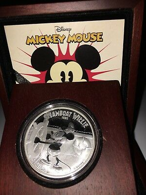 2014 Niue $2 Mickey Mouse Steamboat Willie 1 oz .999 Silver Proof Coin