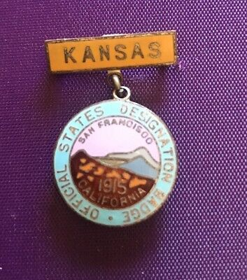 Pretty souvenir enamel Official Badge/pin  PPIE 1915 Panama Pacific Expo- Kansas